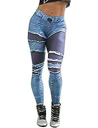 VJGOAL Moda Casual para Mujer Color Profundo Pantalones Vaqueros rallados  Estampado Pantalones de Yoga Gimnasio Deportivo ec0849e3c660