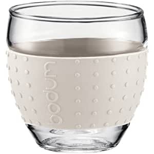 Bodum Pavina Set of 2 Glass Mugs, 12oz, 0.35L, Off White