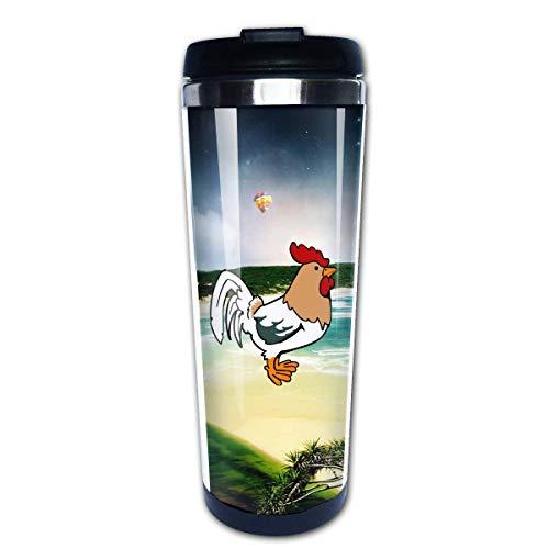 Cute Green Rooster Travel Coffee Mug Cup Water Bottles 13.5 Oz
