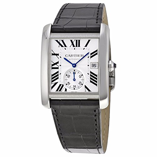 CARTIER MEN'S TANK MC BLACK LEATHER BAND STEEL CASE AUTOMATIC WATCH...