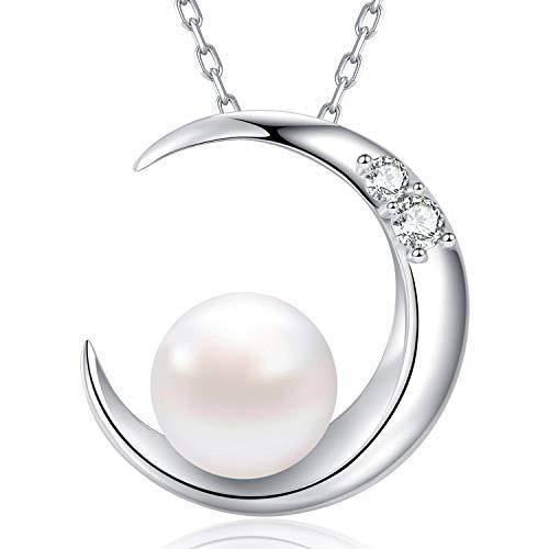 MEGA CREATIVE JEWELRY Damen Kette aus 925 Sterling Silber mit Mond Süßwasser Perle mit Kristallen von Swarovski