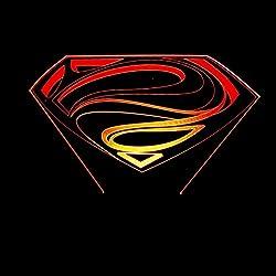 Sweetcreature Superman logo LED luz signo 3D ilusión LED noche luz 7 colores gradual cambiante toque interruptor lámpara de mesa para regalos de vacaciones o decoraciones caseras