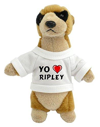 Suricata personalizada de peluche (juguete) con Amo Ripley en la camiseta (nombre de pila/apellido/apodo)