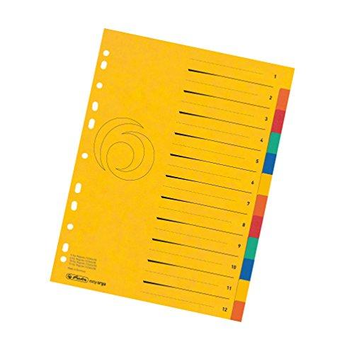 Herlitz 11159381 Karton-Register 1-12, A4, Überbreite, 5 Farben gelocht mit Orgadruck