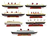 OPO 10 - Batch of 7 transatlantic Cruise Ships: France Normandy Queen Mary US Lusitania Wilhlem Great Eastern Collection Liner of The World Atlas 1: 1250