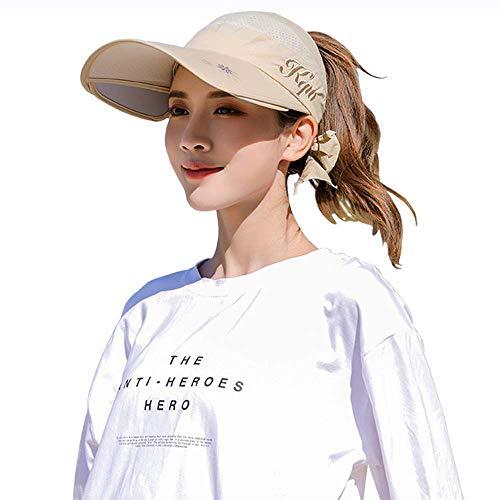 Sommer Damen Sonnenhut 2-in-1 versenkbare Sonnenschutz Hut Frauen Sonnenschutzkappe Schutzkappe UV UPF 50 + Cover Gesicht Urlaub Strand Schwimmen Radfahren Camping Bewegung lässig (Khaki)