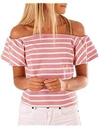 T-Shirt Mujer Verano Off Shoulder Camisas Fashion Vintage Informales Hipster Manga Corta Sencillos Shirts