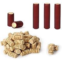 Cápsulas de corcho recto, 50 corchos de vino para manualidades y 50 tapas de encogimiento