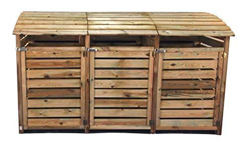Mülltonnenbox aus Holz, Mülltonnenverkleidung – dreifach (für 3 Tonnen bis 240 Liter), wetterfest und somit ideal für draußen / Outdoor geeignet - 2