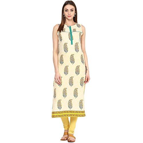Jaipur Kurti Women's Printed Cream Colour Kurti