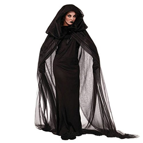 Damen Witch Halloween-Kostüme-LATH.PIN Karneval Weinachten Party Erwächse Schwarz Hexen-Cosplay (Kombination Halloween Kostüme)