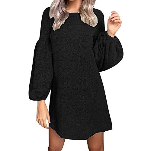 Elecenty Strickkleid Damen,Reizvolle Frauen Minikleid Laternenhülse Langarmkleid Abendkleid...