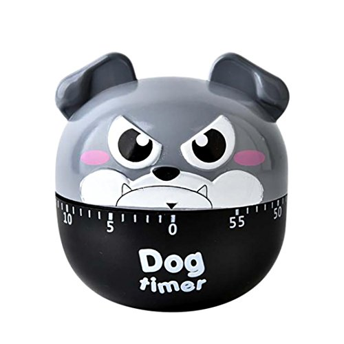gaddrt Küche Timer Süßer Hund Form Mechanische drehbar Alarm Cute Kochen Gadget Werkzeug grau