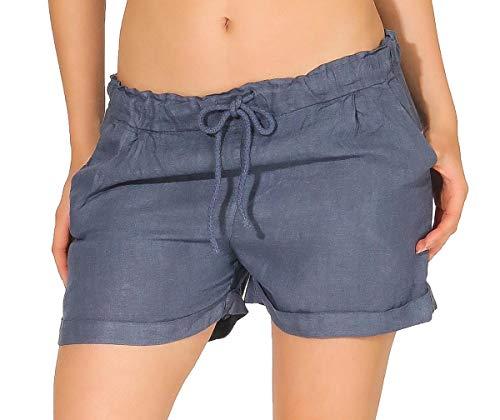 Malito Mujer Pantalones Lino Pantalones Cortos Bermuda