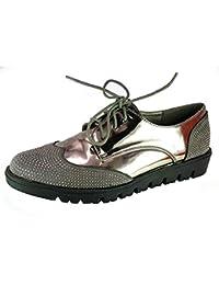 PICCOLI MONELLI Sneakers Donna Scarpe da Passeggio Tacco Basso cm 3 tg 36  Colore Grigio Lucida con Lacci e… 77db8275b85