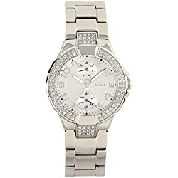 GUESS Women's Quartz Watch with Silver Dial Analogue Display and Silver Stainless Steel Bracelet W12638L1