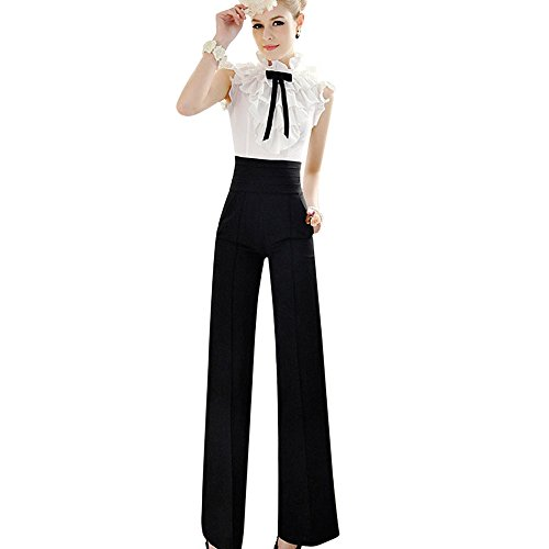 FRAUIT Damen Hohe Taillen Flare Hose Noble Weite Hosen High Waist Stretch Hose Palazzo-Hose Lange Hosen Mode Wunderschön Design Weich Bequem Elegant Pants -