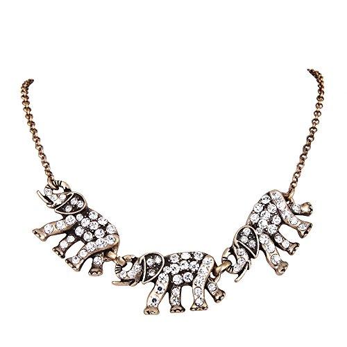 Clearine Mujer Inspirado Cristal Tres Elefantes Familia Collar Claro Retro-Oro-Tono