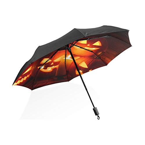 Ombrello da pioggia per bambini Zucca di Halloween intagliata Candela portatile Compatto Ombrello pieghevole Ombrello Anti Uv Protezione da viaggio all'aperto Donne Xl Ombrello invertito