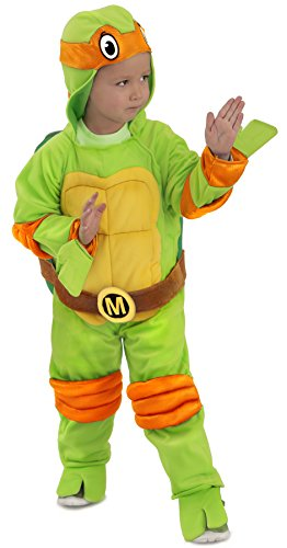 TMNT Teenage Mutant Ninja Turtles Michelangelo One-Piece Jumpsuit (Kind (Kostüm April Turtles Halloween Ninja)