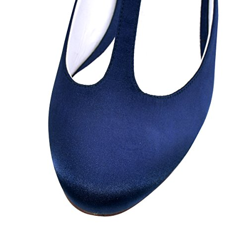 ElegantPark Femmes Bout Fermé Bloc Talon T-Strap Chaussures de Mariage Robe Soirée Bleu Marine