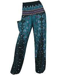 ThaiUK Harem - Pantalones elásticos para Mujer y Hombre