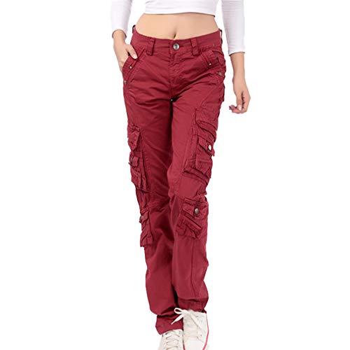 e415e6a63627a4 Damen Unifarben Arbeitshose Gerade Cargo Hosen Vintage Cargohose Mehrere  Tasche Hosen angenehm & strapazierfähig Hosen