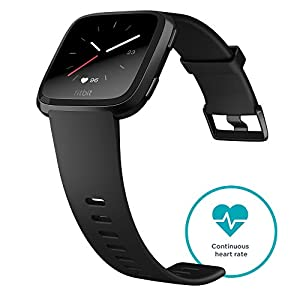 Fitbit Versa Health & Fitness Smartwatch with Heart Rate, Music & Swim Tracking, Black