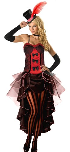 Forever young red burlesque moulin rouge fancy dress can can girl costume outfit + hat & glove (uk size 14)