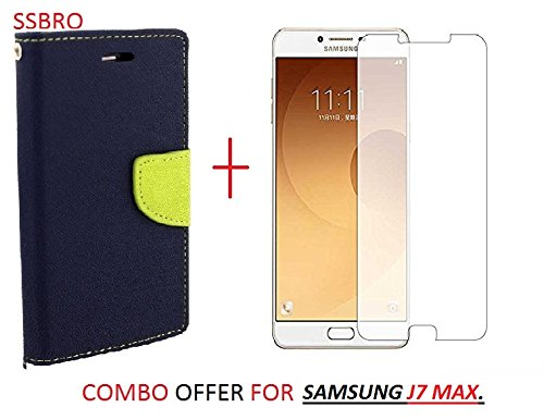 RIdhaniyaa (COMBO OFFER) for (SAMSUNG GALAXY J7 MAX) Wallet Flip Cover + Premium Tempered Glass Screen Protector - - (BLUE / GREEN)