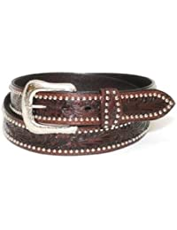 Western express - Ceinture homme cuir marron - country Tooled, Studded Size 40 - XM-7632