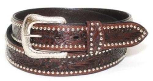 f84ac9fda002 Western express - Ceinture homme cuir marron - country Tooled, Studded Size  40 - XM