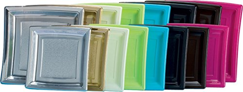 Cuisineonly - Assiette carrée plastique diamètre 18.5cm, Vert anis, 50 unités. cuisine : usage unique (vaisselles - serviettes - nappes jetables)