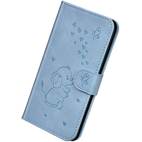 Herbests Kompatibel mit Samsung Galaxy A10 Hülle Leder Handyhülle 3D Herz Schmetterling Elefant Muster Lederhülle Flip Cover Case Klappbar Bookstyle Brieftasche Ledertasche Schutzhülle,Blau