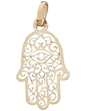 Hobra-Gold HAND DER FATIMA - ANHÄNGER GOLD 585 - HAMSA ZWEI GRÖSSEN - GOLDANHÄNGER 14 KT GELBGOLD
