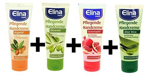 Elina Probier Handcreme Set, Olivenöl, Arganöl, Aloe Vera, Granatapfel, 4er Pack (4 x 75 ml)