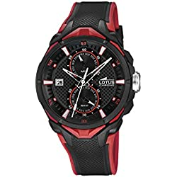Lotus Men's Quartz Watch with Black Dial Chronograph Display and Black Rubber Strap 18107/8