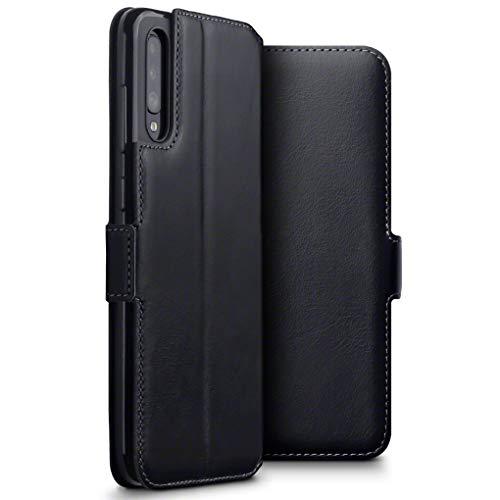 TERRAPIN, Kompatibel mit Samsung Galaxy A70 Hülle, Premium ECHT Spaltleder Flip Handyhülle Samsung Galaxy A70 Hülle Tasche Schutzhülle, Schwarz