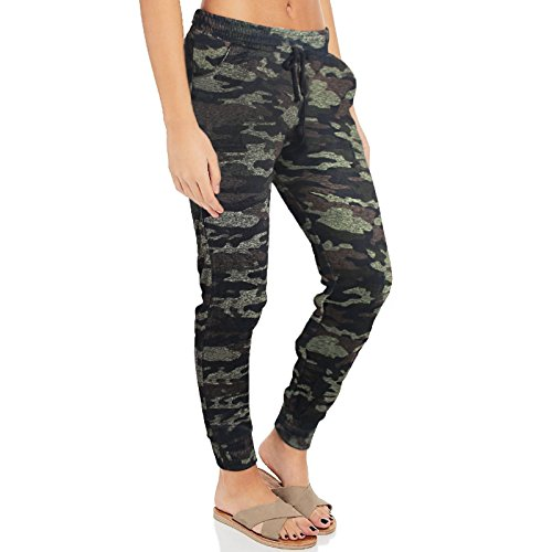 Minni Rossa Womens Ladies Camouflage Jogging Bottoms Cuffed Army Tracksuit Trousers Pants