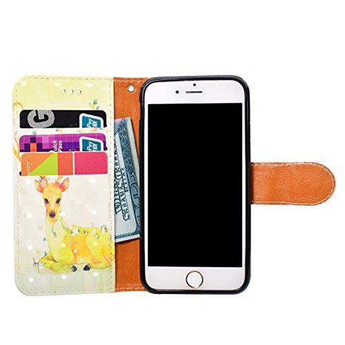 iPhone 7 Custodia,iPhone 8 Custodia in Pelle,Slynmax 3D Modello Copertura Folio Flip Cover PU Wallet Case Per iPhone 7 / iPhone 8 Protezione Caso Ultra Sottile Colorato Protettivi Covers Chiusura Magn Modello #10