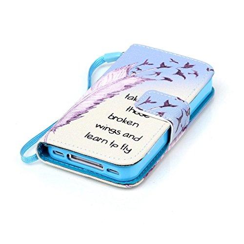 KATUMO® Handyhülle für iPhone 4, [Flip Book Case] PU Leder Wallet Case Handytasche Schutzhülle für Apple iPhone 4/4S Lederhülle Etui Schale mit Standfunktion Function,Fantasie Campanula Feder