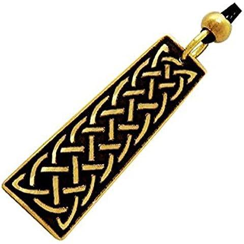 Handcrafted ottone inciso, entertwined celtica nodi, collana pendente di modo, Simboleggia Unità e Protezione - Una Collana Simboleggia