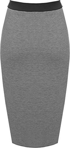 WearAll - Übergröße Damen Knie Lang Rock Mit Gummizug In Der Taille - 4 Farben - Größen 44-54 Dunkelgrau