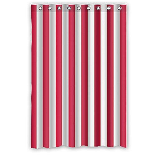 DOUBEE Weiß und Rot Gestreifte Regenbogen Wasserdichtes Duschvorhang Durable Polyester Shower Curtain 120cm x 183cm mit Haken Pflegeleicht