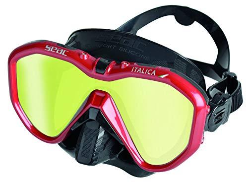 SEAC Italica Masque Monoverre pour la plongée Professionnelle, Les Loisirs ou l'apnée, de Haute qualité fabriqué en Italie Adulte Unisexe, Noir LS/Rouge Metal, Regular Fit