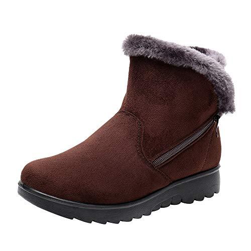 Dorical Damen Stiefeletten Winter Boots Warm Gefüttert Flandell Outdoor Boots mit Reißverschluss,Schwarz, Wein, Braun Gr 35-43