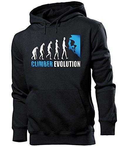 love-all-my-shirts Climber Evolution 2096 Sport Männer Herren Hoodie Pulli Kapuzen Pullover Kapuzenpullover Sportbekleidung Sport Schwarz aufdruck Blau M
