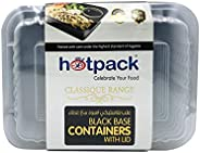 Soft N Cool, Hotpack - 5 Pieces Black Base Rectangular Microwavable Container With Lids 28 Ounce, PLASTIC, HSM