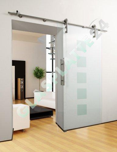 Glasschiebetür Schiebetür Glastür - Quadratdesign - 1050x2050mm - Komplettset (Schiebetür Doppelseitige)