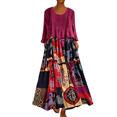 LOPILY 2 St. Sommerkleid Damen Große Größen Hippie Druckkleid Maxikleid mit Leinen Top Oberteil Langarm Freizeit Kleid Lose Atmungsaktives Kleid Umstandkleid Übergrößen (Hot pink, DE-50/CN-5XL)